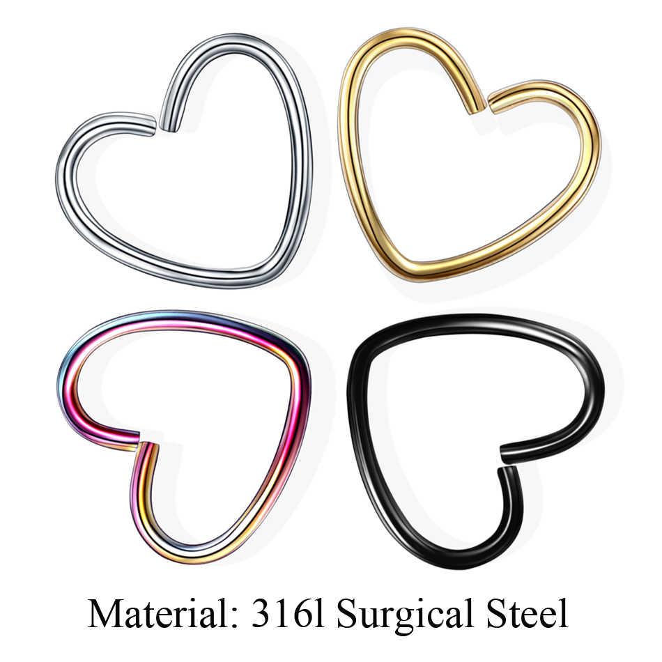 1 ADET Daith Kalp Helix Tragus Lob Kıkırdak Kale Piercing CZ Hoop Burun Septum Yüzükler 16G Opal Kabuklu Küpe piercing Takı