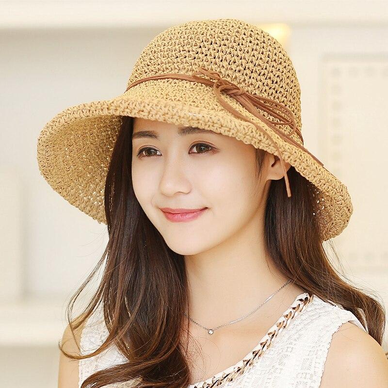 Verano Sombreros de Paja Moda Mujer Sombrero Floppy de Ala Ancha - Accesorios para la ropa - foto 4