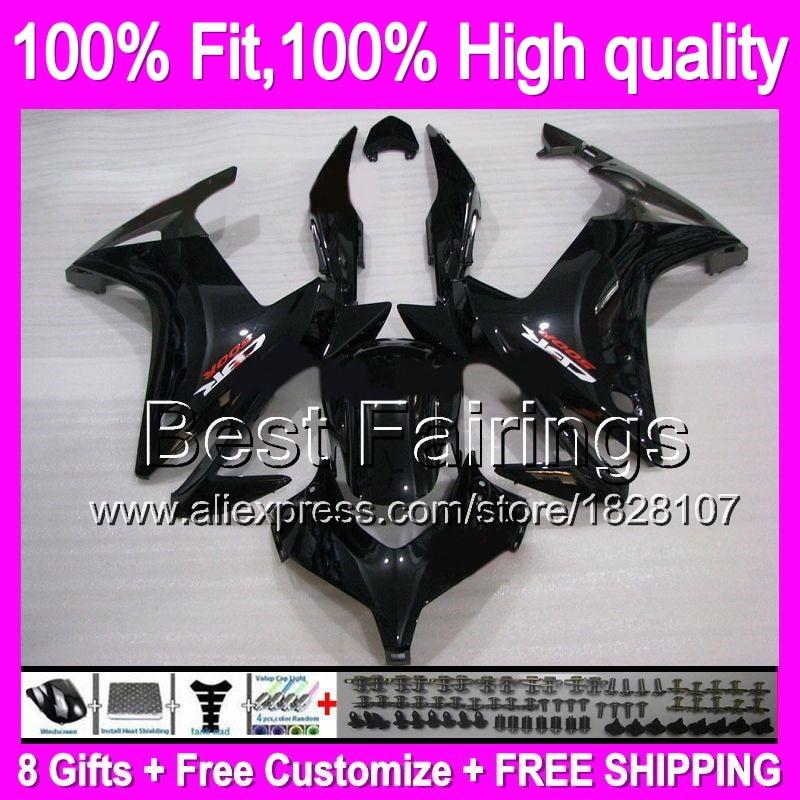 ALL Black Fairing For HONDA Injection CBR500R 13-15 CBR500RR Gloss black 12B1 CBR 500R CBR500 R 13 14 15 2013 2014 2015 +decal