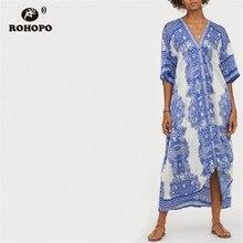ROHOPO Sky Blue Floral Vintage Midi Dress Short Sleeve Button Fly High Low Flared Hem Retro Mid Calf Holiday Vestido #BM2209