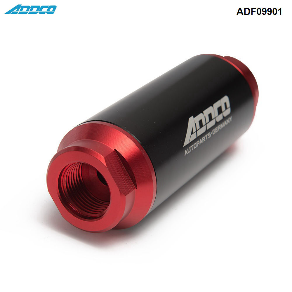 Inline Fuel Filter High Flow Turbo 40 Micron Mount AN6 AN8 AN10 Universal Silver