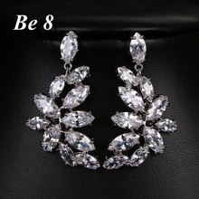Be8 Brand Sparkling Marquise Cut Top Quality Cubic Zirconia Drop Earrings White Gold Color Wedding Bridal Earrings Jewelry E-254 be8 brand elegent flower shape aaa cubic zirconia drop earring top quality white gold color wedding bridal earring jewelry e 308
