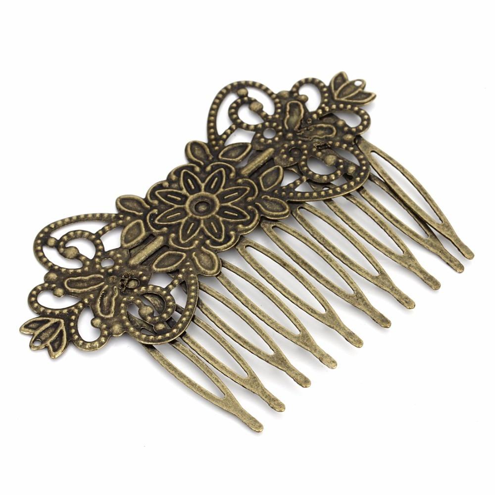 Flor de filigrana bronce antiguo pendientes de clip