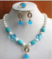Miss Charm Jew 502 Charming Women S 8mm Mixed Color Pearl Necklace Earring Ring Jewelry Set