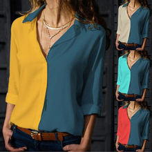 New Arrival Women Summer Shirts Long Sleeve V-neck Patchwork Lapel Button Casual Tunic Tops