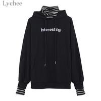 Lychee Harajuku Women Hooded Sweatshirt Letter Print Stripe Patchwork Long Sleeve Casual Loose Hoodies Tracksuit