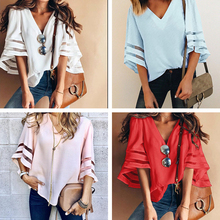 Summer Ladies Loose V-neck Bating Sleeve Patchwork Shirts Casual Plus Size Women Chiffon Blouses Female Tops Mujer De Moda 2019