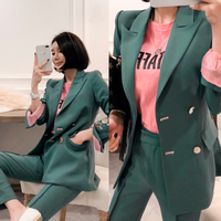 Fashion Green Double Breasted Women Pant Suit Hit Color Notched Blazer Jacket & High Waist Pant 2019 Office Wear Women Suits