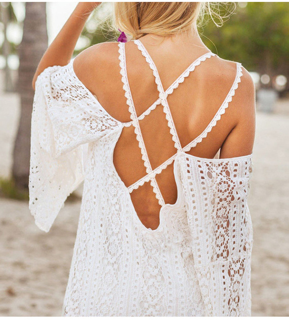 2018 Summer Women Vestidos Hippie Boho Embroidered Floral Bohemian Sexy Lace Crochet Beach Wear Mini White Maxi Dress Y0717-89D