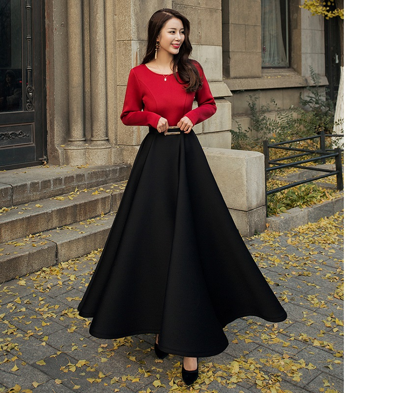 Ball Gown Dress 2018 Autumn Winter Party Evening Women's Dreses O Neck Black Wine Red Color Patchwork Elegant Long Dress Maxi