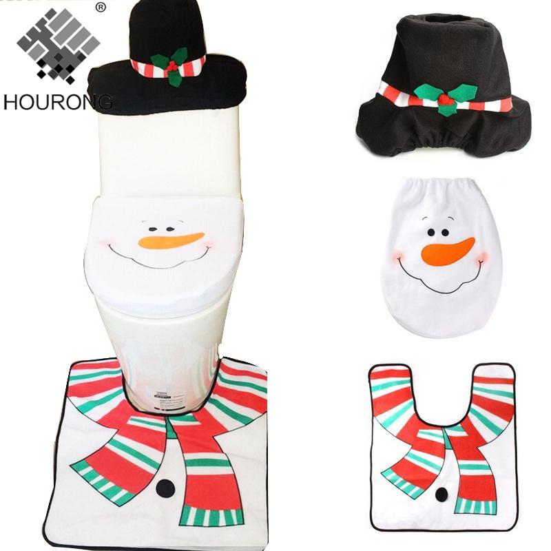3pcs/set Xmas Decoration Toilet Seat Cover White Snowman Bath Mats Bathroom Accessories Sets Home Decorations