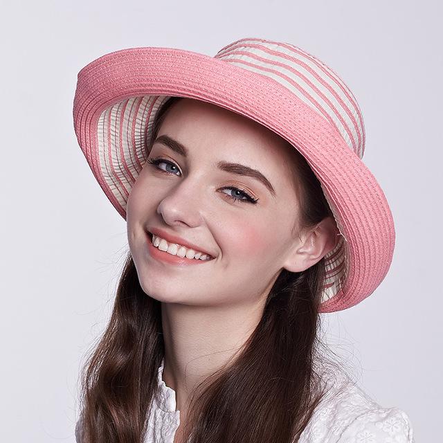 2016 nueva señora del sombrero de Sun sombrero mujeres amplia ala tapa sol elegante viajar sombrero nueva Headwear B-1997