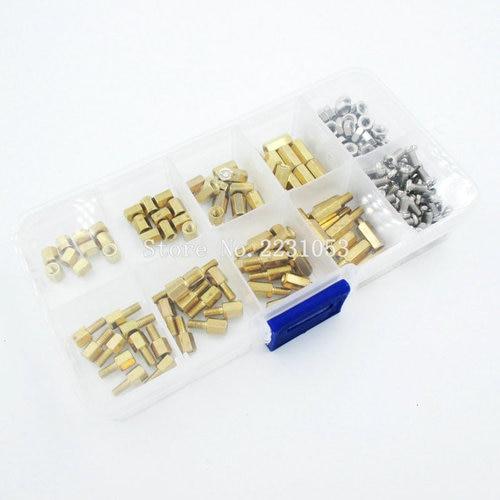 200PCS M3 PCB Hex Male Female Thread Brass Spacer Standoffs/ Screw /Hex Nut Assortment Set Kit With Plastic Box M3*5mm - M3*10mm Islamabad