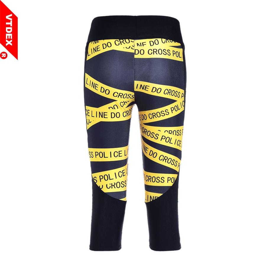 2017 VTDEX Fitness Yoga Pants Capri Women Digital Print Cross Line Running Sports Leggings 3/4 Breathable Anti-sweat Elastic Gym