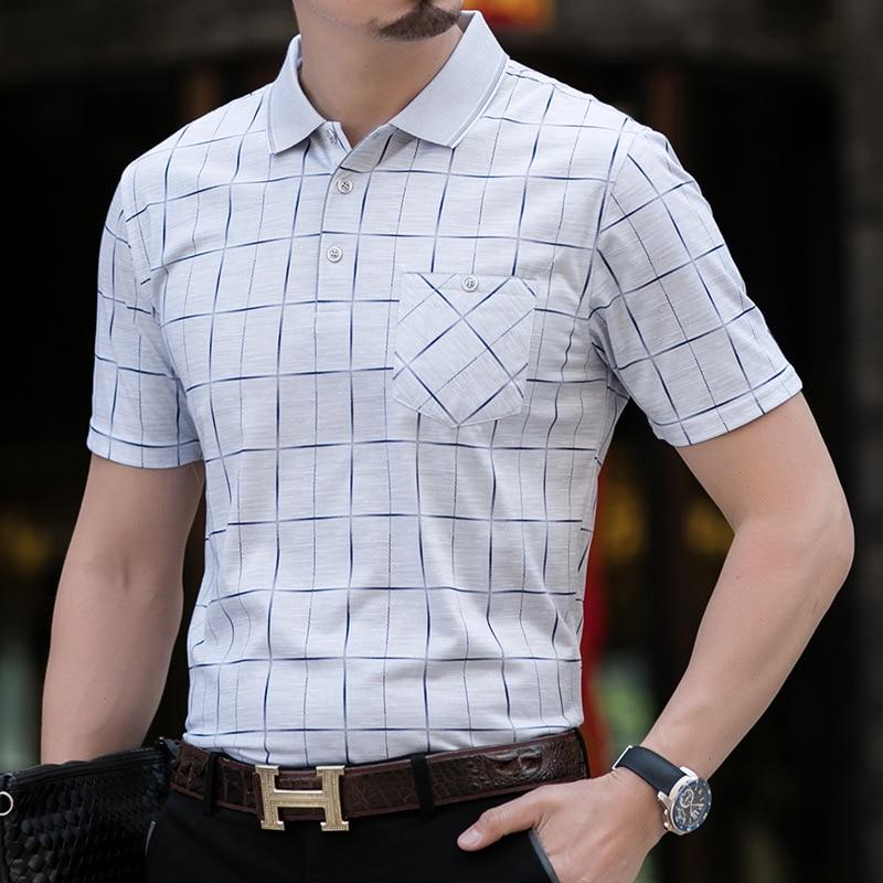 Thoshine Brand Men Striped   Polo   Shirts 95% Viscose Fashion Smart Casual   Polo   shirt Business Style Plaid Dot Camisa Pockets Tops