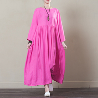 Indie Folk Style Dress 2018 New Spring Autumn O Neck Full Sleeve Loose Solid Cotton Linen