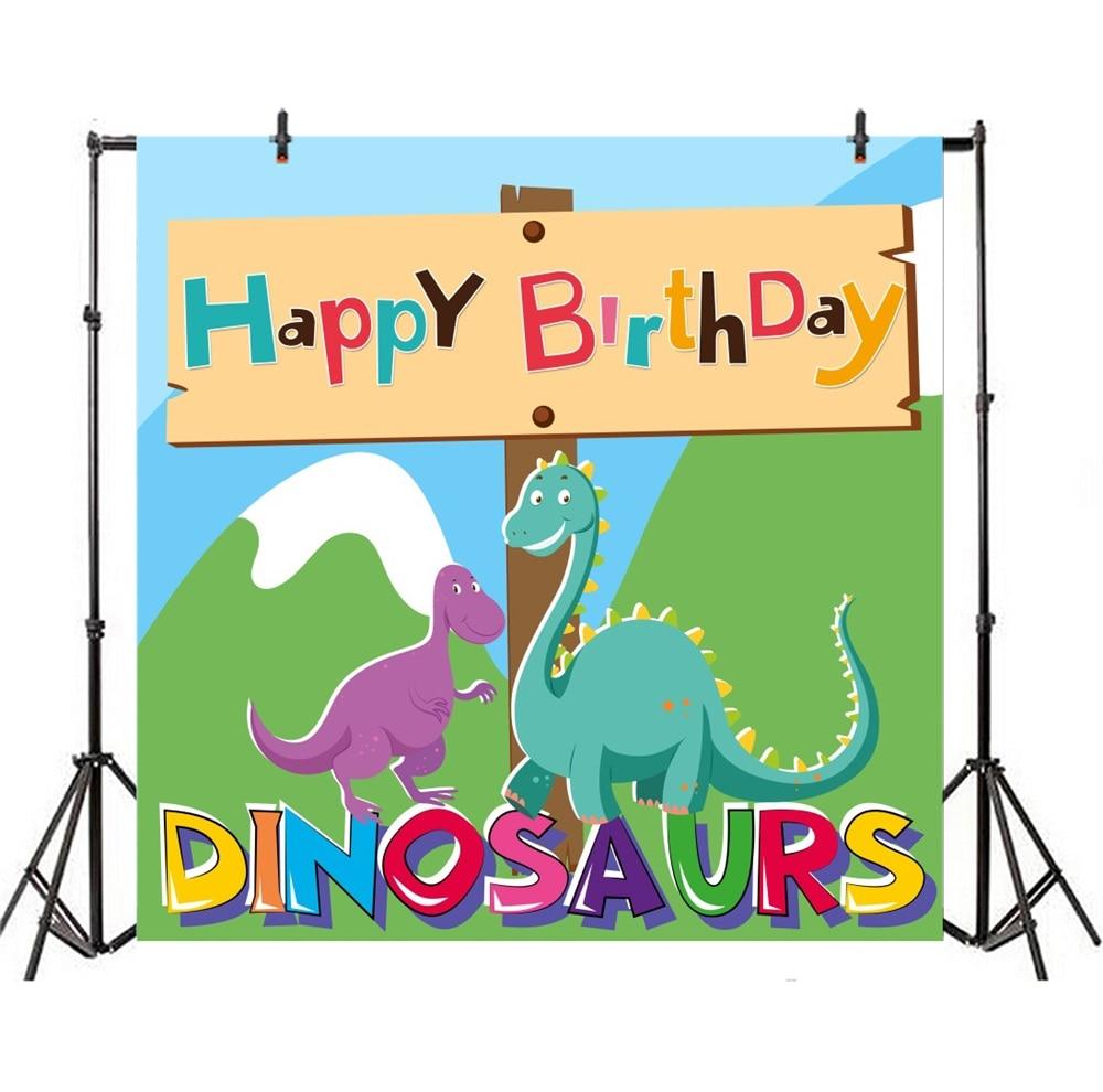 Laeacco Cartoon Dinosaurus Baby Verjaardag Kind Feest Fotografische - Camera en foto - Foto 4
