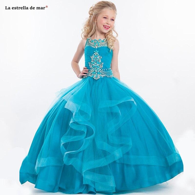 Kids Flower Girl Dress2019 New O Neck Tulle Crystal Fluffy Turquoise Ball Gowns For Girls Floor Length Pageant Dresses For Girls