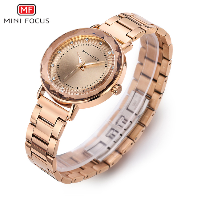 MINI FOCUS Top Brand Quartz Womens Watch Ladies Silver Bracelet Watches for Woma