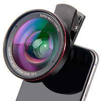 Super Lente Macro 15X amplia 0.45X o 0.6X Lente del teléfono Kit HD Teléfono Super ojo de pez Lente de cámara Lentes para Smartphone