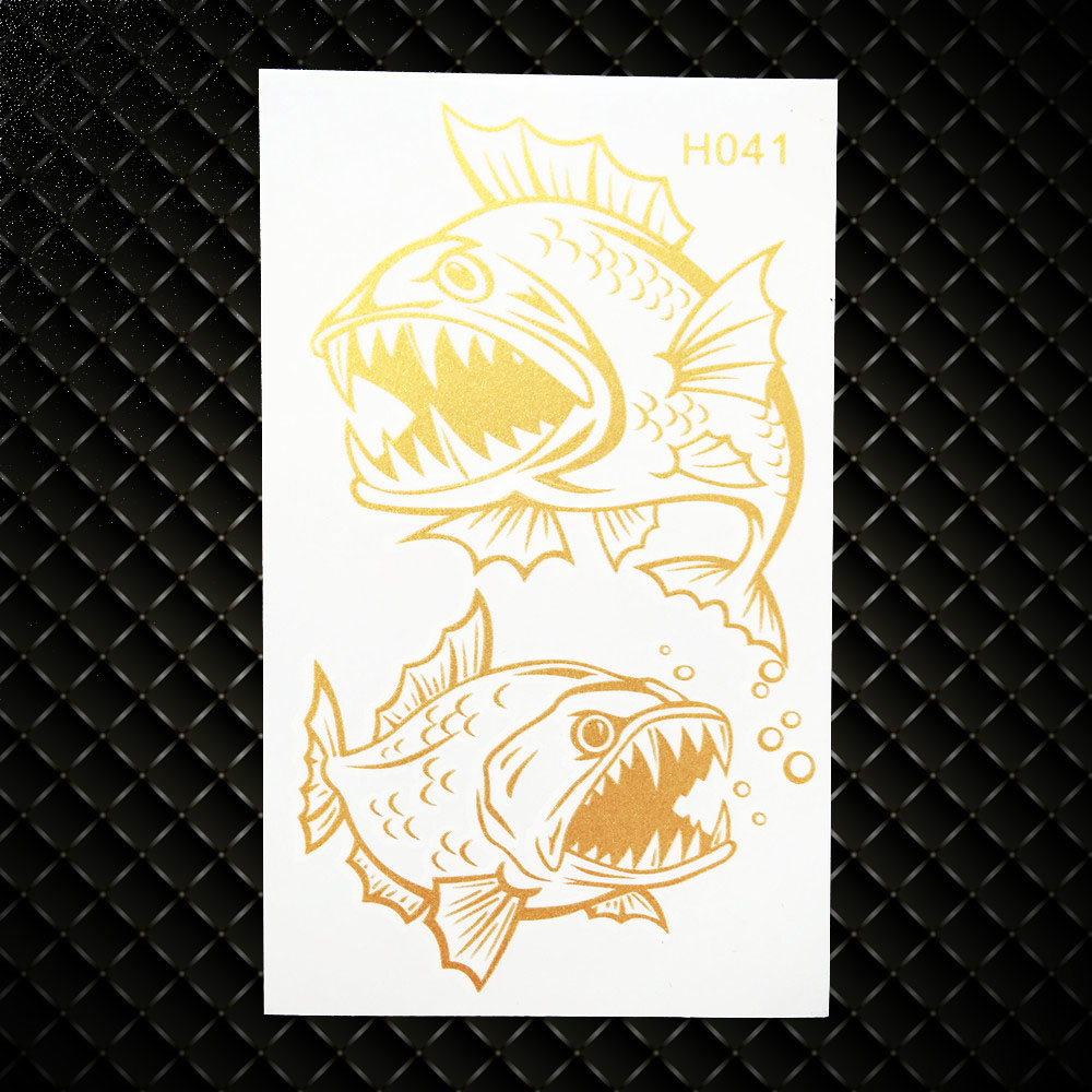 Gold Metallic Piranha Designs Fake Falsh Temporary Tattoo Stickers Fake Flash Henna Tattoo GGH041 Women Body Arm Legs Sticker