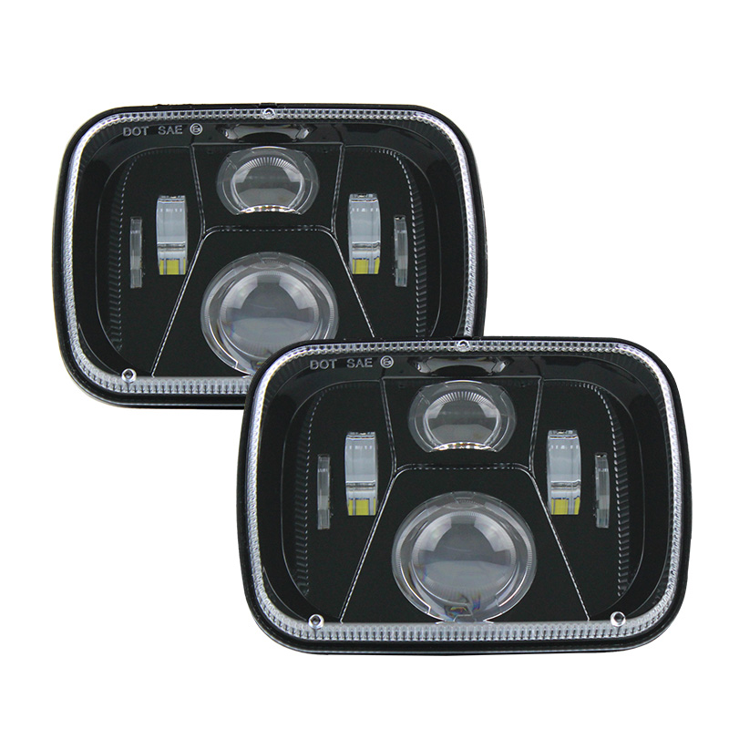 A Pair 5x7 led headlight Rectangular 6x7 inch 55W High/ Low H4 led Driving lights for Jeep Wrangler YJ Cherokee XJ MJ Comanche pair 5x7 led headlight rectangular 6x7