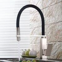 Смесители для кухни никелевый матовый Одноручный вытяжной кухонный кран с одним отверстием поворотный кран 360 градусов для холодной и горя