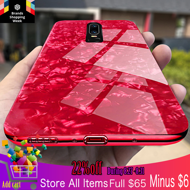 Oneplus 6 case cover oneplus 6 tempered Glass fashion luxury woman case one plus 6 cover oneplus6 soft silicon edge back cases