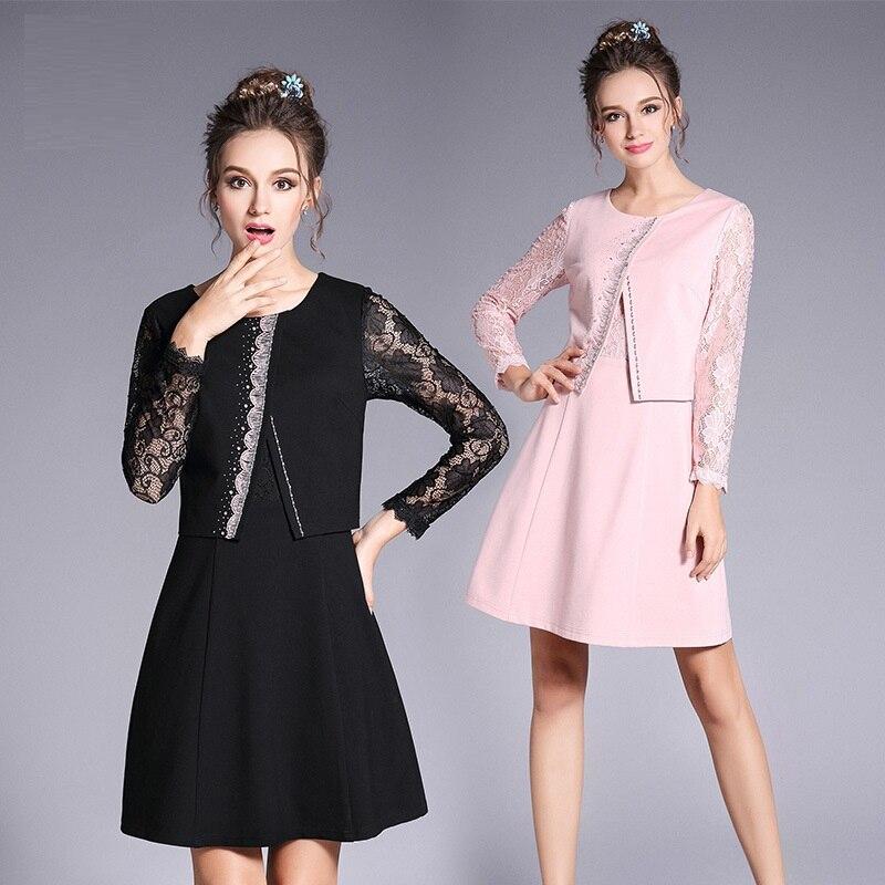 2018 Spring fashion Ladies Plus size beaded faux two elegant Dress lace patchwork A line dress