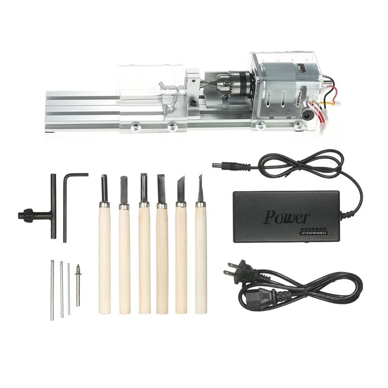Uns Stecker, mini Drehmaschine Perlen Maschine 100W Holzbearbeitung Diy Drehmaschine Polieren Schneiden Mini Drill Rotary Tool Standard Set Mit Power S