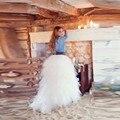 Gorgeous Pura Falda Tutú Blanco Por Encargo Una Línea de Piso-Longitud Larga Maxi Falda Con Gradas En Capas de Volantes de Tul Faldas de Las Mujeres