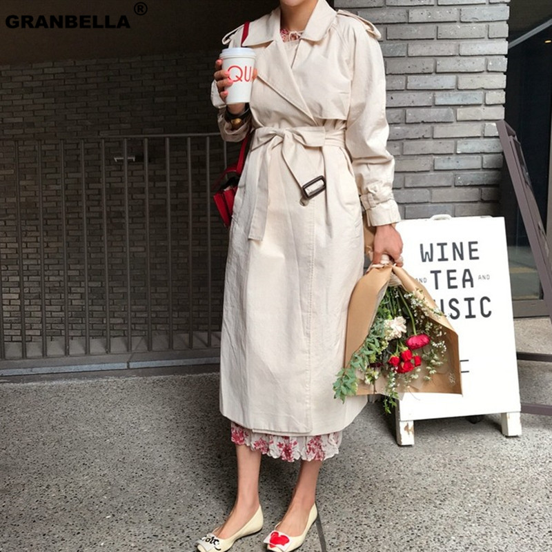 Plus Size Epaulettes Safari   Trench   Long Coat Women Autumn Winter Beige Sashes Windbreaker Russian Style Raincoat Cloak