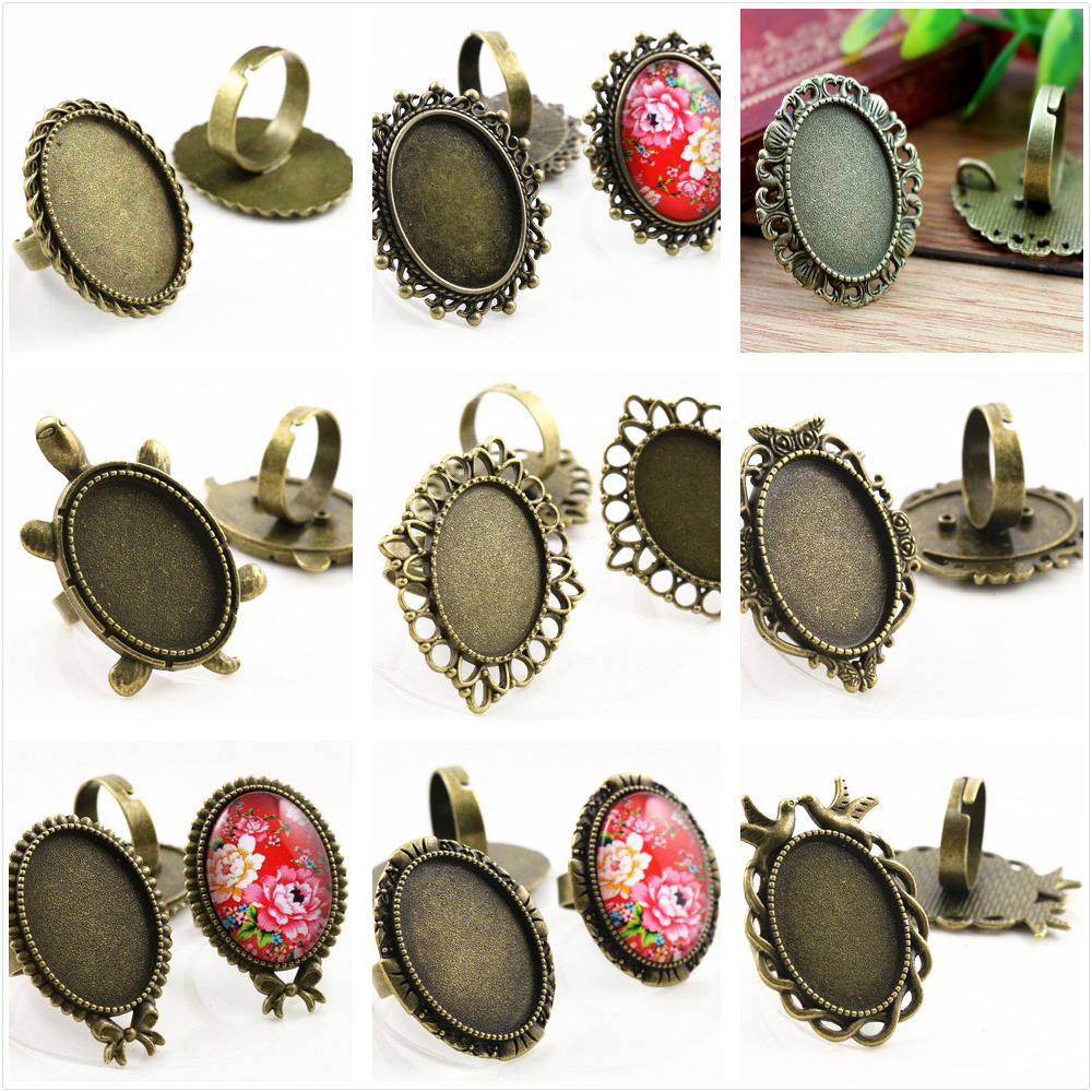 18x25mm 5pcs Antique Bronze Plated 9 Style Brass Oval Adjustable Ring Settings Blank/Base,Fit 18x25mm Glass Cabochons 18x25mm 5pcs light silver and bronze plated brass drop adjustable ring settings blank base fit 18x25mm glass cabochons