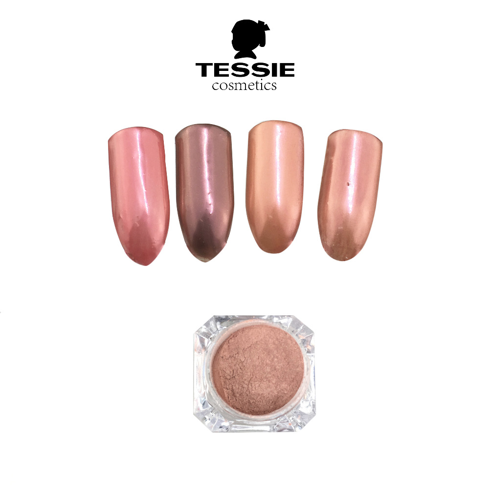 Tessie Shop Rose Gold Pearl Nail Effect Pink Mirror Powder