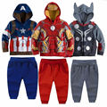 Meninos da criança Roupas de Super-heróis Hoodies Jaqueta Moletom Com Capuz Casaco + Calças 2 pcs Roupa Dos Miúdos Conjunto de Roupas