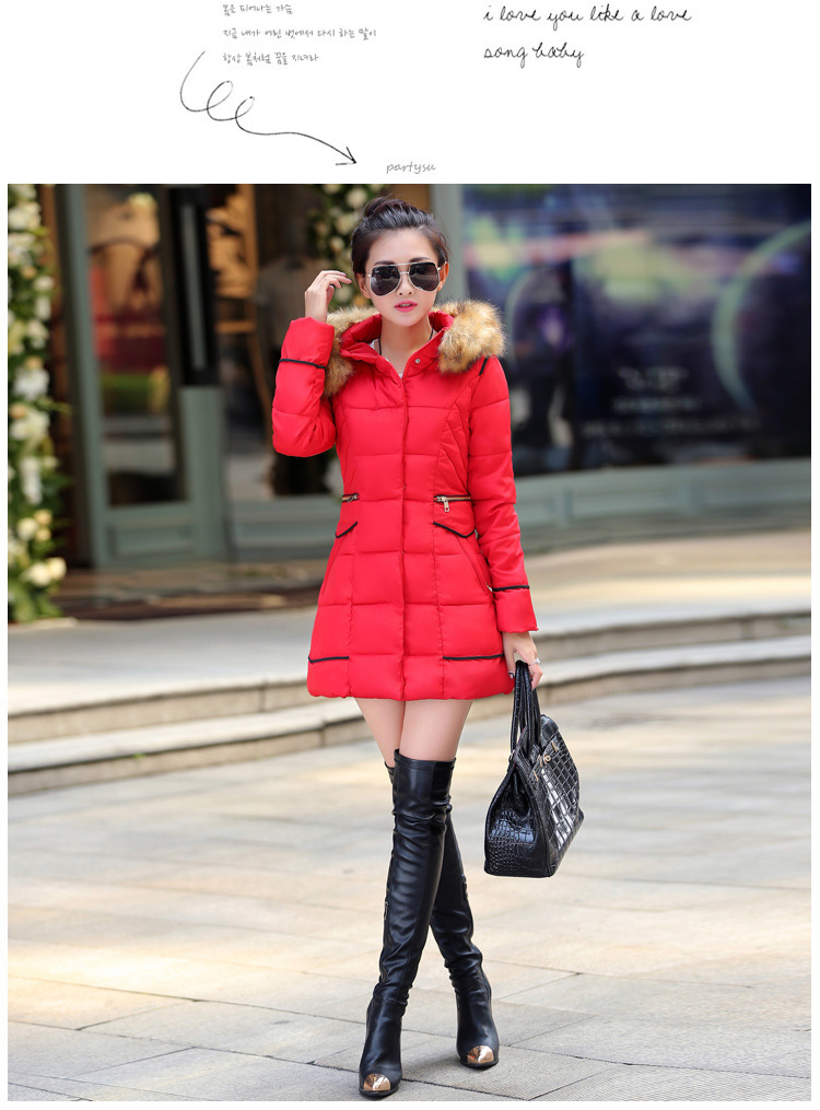 2016 New Winter In The Long Slim Hooded Collar Big Padded Designer Womens Coats Parka Women Jackets Ladies Jacket