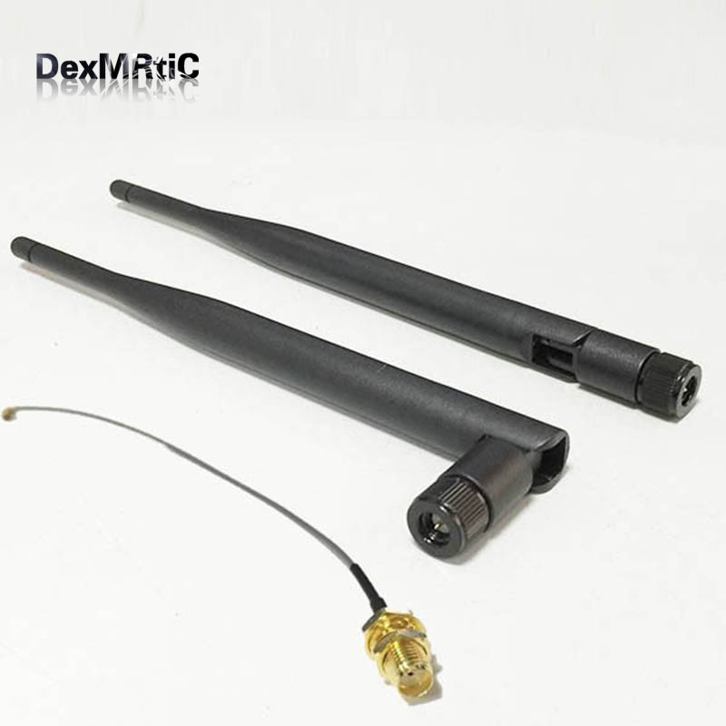 5dBi 3G Antena De Borracha SMA 850/900/1800/1900/2100 MHZ SMA Conector Macho + IPX/u. fl Para SMA Cabo Pigtail Fêmea 15 centímetros