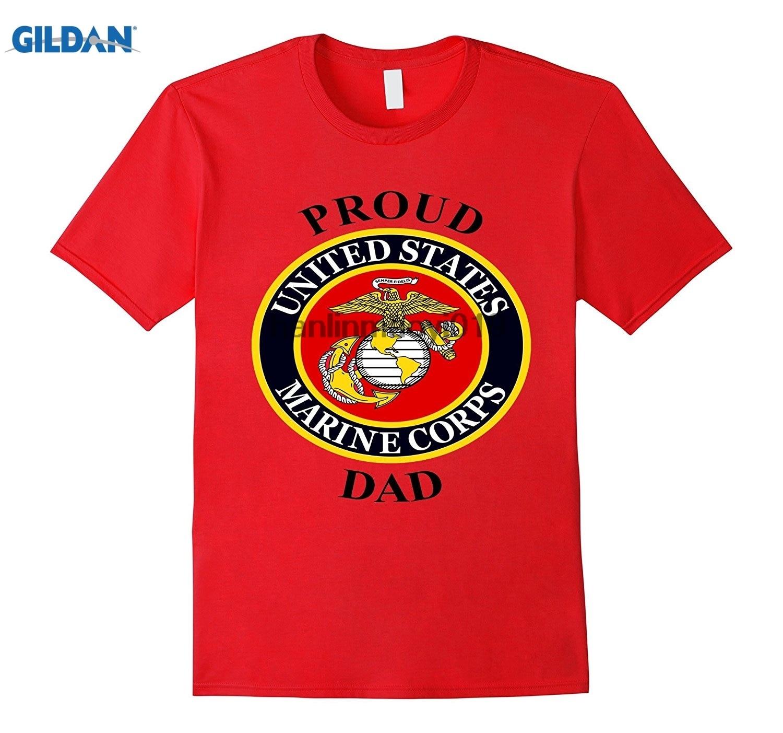 GILDAN Mens Marine USMC Proud Dad T-Shirt Fathers Day Army Military Vet