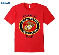 GILDAN Mens Marine USMC Proud Dad T Shirt Fathers Day Army Military Vet