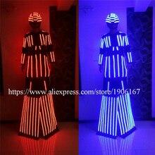 С подсветкой ходулях Для женщин робот костюм со светодиодной шлем растущий свет kryoman робот костюм ходулях одежда событие для вечеринок