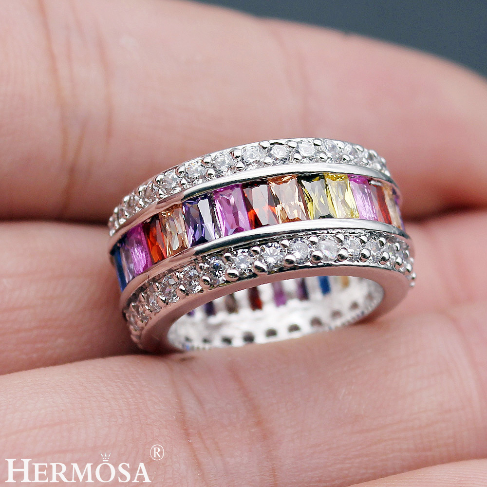 HERMOSA jewelry fashion 925 Sterling Silver Wedding Ring size 6 7 8 ...