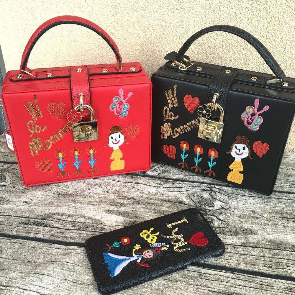 все цены на High quality leather fashion sequined embroidery letter cartoon mama mini box bag ladies handbag shoulder bag messenger bag flap онлайн