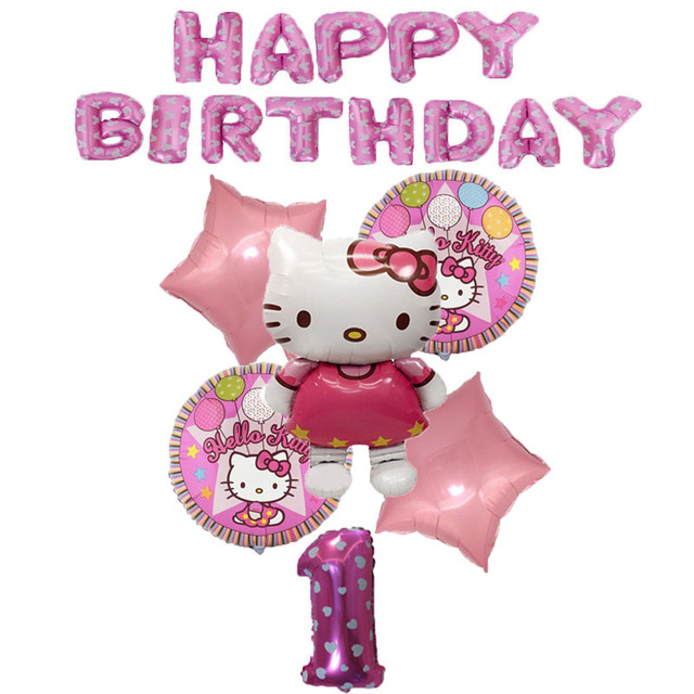 19pcs Hello Kitty Home Birthday Party Decorations Kids Balloons Air