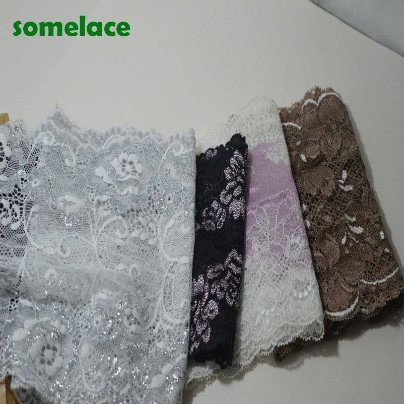 2yds Sliver~Brown~black~purple Elastic Lace Fabric,Sewing Trim Wedding Lace DIY Garment Accessories19031307