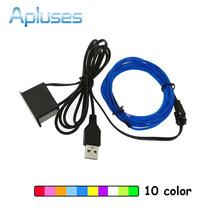1M/2M/3M/5M 5V USB Neon Light Dance Party Car Decor LED lamp Flexible EL Wire Rope Tube Waterproof Strip