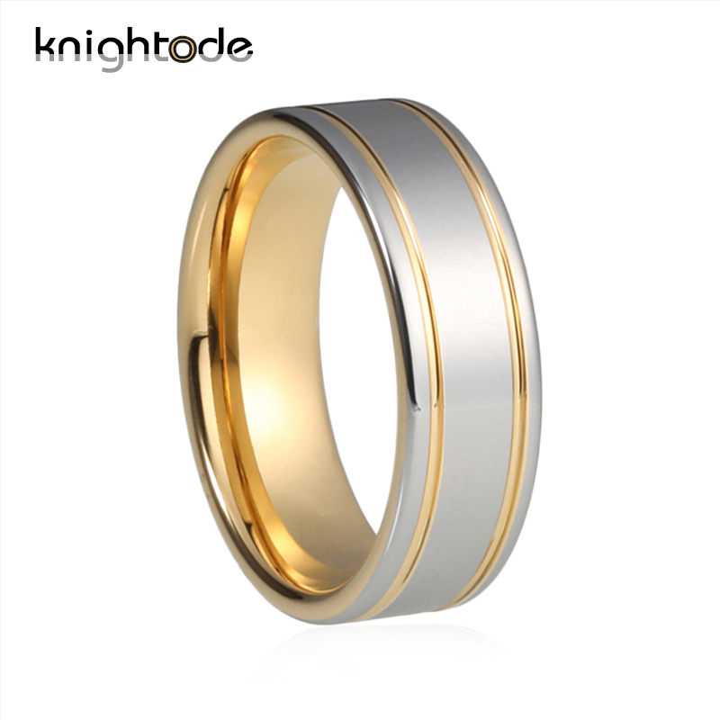 Knightode Tungsten Couples Ring Fat And Silver On Surface With Double Gold Grooved Polished Shiny Men and Women Engagement Ring
