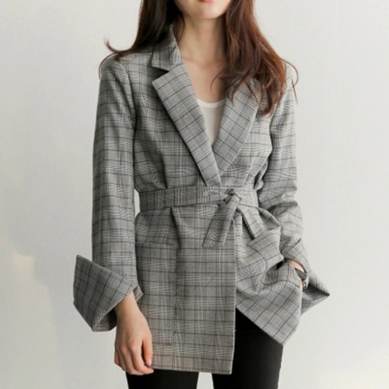 2018 Autumn Women Gray Plaid Office Lady Blazer Fashion Bow Sashes Split Sleeve Jackets Elegant Work Blazers Feminino  H8