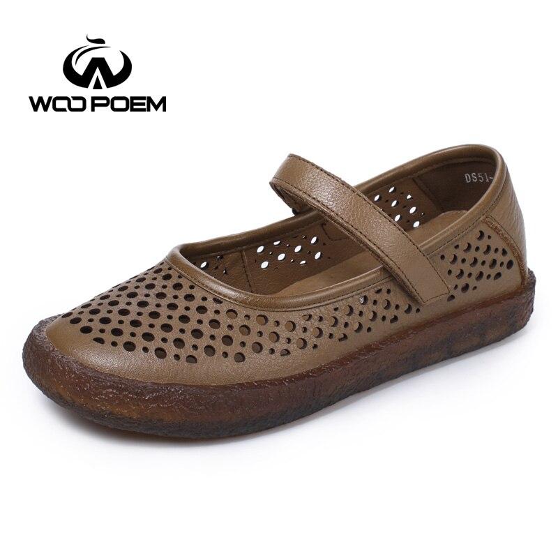 2017 zapatos de cuero genuino a prueba de agua mujer Mary Janos zapatos de tacón bajo zapatos de mujer ahuecados-in Zapatos planos de mujer from zapatos    1