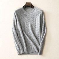 Мужские кашемировые свитера зима осень 100% Pure кашемировый свитер с круглым вырезом и длинным рукавом Пуловеры мягкий теплый трикотаж плюс Р