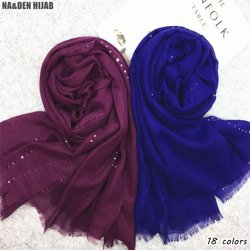 2019 Sequin Plain scarf shawls Muslim solid hijab woman big pashmina shimmer with stripe embroidery scarves